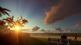 Riposo di prima generazione e ragazzino con funzionamento dell'aeroplano, isola tropicale al tramonto illustrazione vettoriale