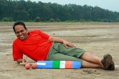 Riposo indiano del giocatore del grillo Fotografie Stock
