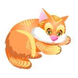Riposo lanuginoso rosso divertente e sveglio del gattino Illustrazione con l'animale domestico l illustrazione di stock
