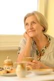 Riposo pensieroso della donna più anziana Fotografie Stock Libere da Diritti