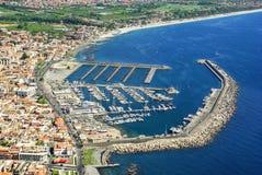 Riposto, Catania Sicily. Aerial view stock photo
