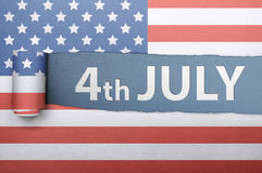 Ripped american flag paper with Fourth 4th of July greetings Stock Photo