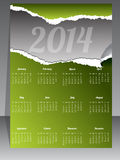 Ripped calendar design for year 2014. Ripped calendar design in green for year 2014 Royalty Free Stock Images