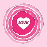Ripped Circle Pink Paper with Herat and Love Royalty Free Stock Photos