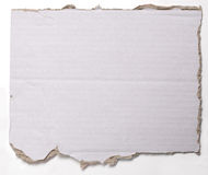 Ripped  crumpled piece of cardboard  on white Royalty Free Stock Images