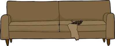 Ripped Cushion on Sofa Stock Images