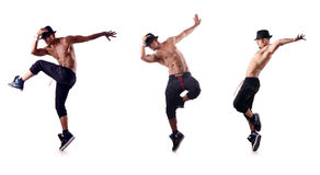The ripped dancer isolated on the white Stock Photos