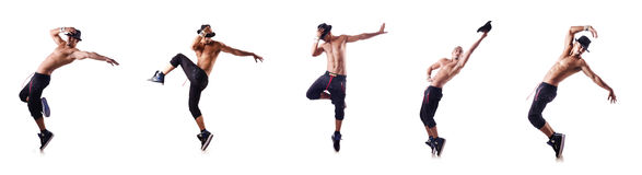The ripped dancer isolated on the white Stock Photo