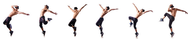 The ripped dancer isolated on the white Stock Photography