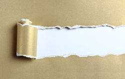 Ripped gold paper. Ripped gold color paper over white background Royalty Free Stock Image