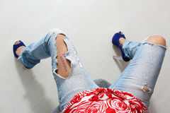 Ripped jeans Stock Photo