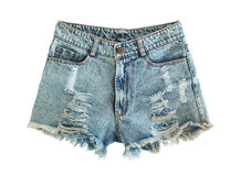 Ripped jeans shorts. Isolated on white background Royalty Free Stock Images