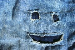 Cropped Shot Of Blue Denim Jeans. Ripped Jeans Texture Background. Abstract Blue Denim Background. Cropped Shot Of Blue Denim Jeans stock photos