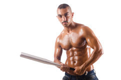 The ripped man with baseball bat Royalty Free Stock Images
