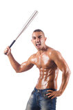 The ripped man with baseball bat Royalty Free Stock Photography