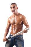 The ripped man with baseball bat Stock Image