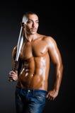The ripped man with baseball bat Royalty Free Stock Photo