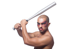 Ripped man with baseball bat Royalty Free Stock Photography
