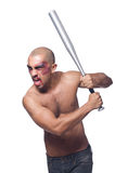 Ripped man with baseball bat Royalty Free Stock Images