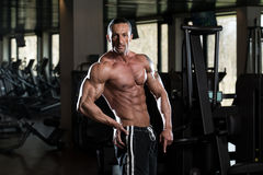Ripped Mature Man In Modern Fitness Center royalty free stock photos