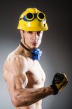 Ripped muscular builder man Stock Photo