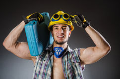 Ripped muscular builder man Stock Images