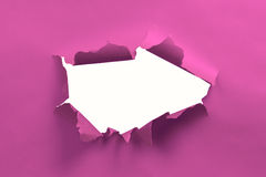 Ripped paper. Pink ripped paper background with white space stock photo
