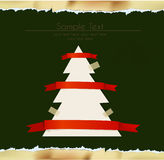 Ripped paper background christmas tree Stock Images