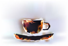 Ripped paper background, cup of coffee Royalty Free Stock Photography
