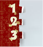 Ripped paper background with numbers. 123 Stock Photo