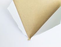 Ripped paper on brown color Royalty Free Stock Images