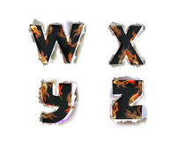 Ripped paper collection Alphabet and flames Royalty Free Stock Photo