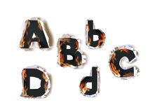 Ripped paper collection Alphabet and flames Stock Image