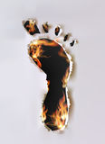 Ripped paper collection and flames Foot print Stock Image