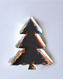Ripped paper collection and flames, Xmas tree Royalty Free Stock Photography