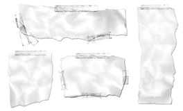 Ripped Paper Collection with Tape. Ripped and taped wrinkled paper images isolated on a white background royalty free illustration
