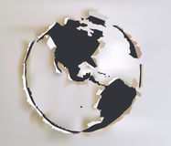 Ripped paper globe sign Royalty Free Stock Photography