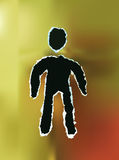 Ripped paper man. Ripped golden paper man symbol Royalty Free Stock Image