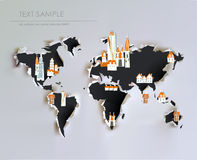 Ripped paper map with city icons Stock Images