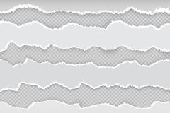 Free Ripped Paper Page. Newspaper Horizontal Torn Strips, Realistic Transparent White Cardboard Rip Edge. Vector Banner Rough Royalty Free Stock Images - 145457649