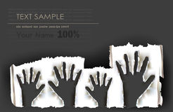 Ripped paper raising hands Stock Images