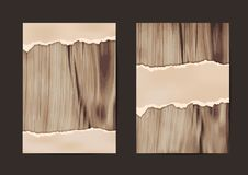 Ripped paper on texture of wood background. Business brochure flyer design layout template in A4 size, Vector illustration modern design  Image trace of wooden Royalty Free Stock Photos