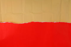 Ripped red paper with crinkled brown paper. For background Royalty Free Stock Photography