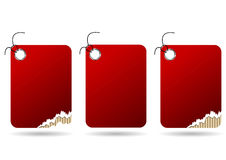 Ripped red tags Royalty Free Stock Photo
