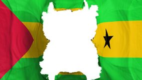 Ripped Sao Tome and Principe flying flag. Over white background, 3d rendering vector illustration