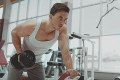 Ripped shirtless man exercising with dumbbells at the gym royalty free stock images