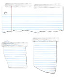 Ripped and Taped Looseleaf Paper Collection. Ripped and taped looseleaf paper isolated on a white background royalty free illustration