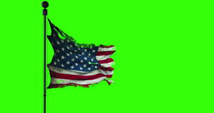 Ripped tear grunge old closeup of american USA flag, stars and stripes, united states of america on chroma key green screen stock footage