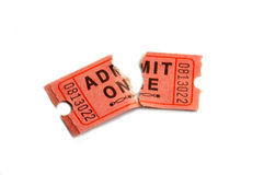 Ripped ticket. Torn ticket stub on white Royalty Free Stock Images