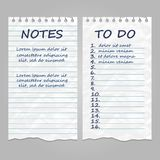 Ripped vintage paper pages for notes and to do list. Remember message notepad with handwriting text. Vector illustration Stock Photography